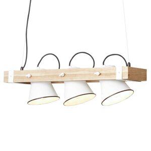 Brilliant Závěsné světlo Plow 3 zdroje, bílá dřevo světlé