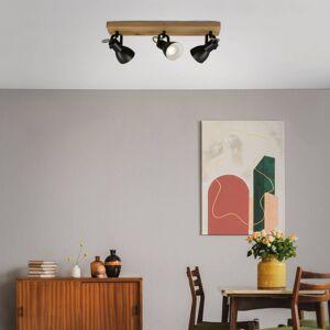 Briloner Stropní reflektor Arbo s dřevěným prvkem, 3 zdroje
