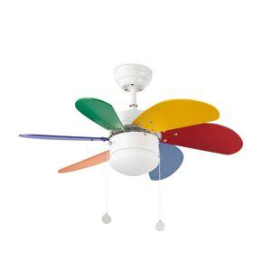 Dětský reverzní stropní ventilátor s osvětlením PALAO, 3 rychlosti Faro barcelona PALAO 33179
