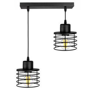 Industriální závěsné osvětlení BEDDY, 2xE27, 60W, černé BEDDY