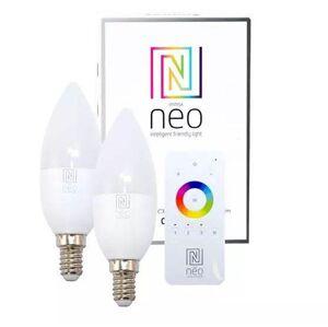 Sada 2x LED inteligentní stmívatelná žárovka Immax NEO SMART, E14, C37, 5W, teplá bílá, včetně ovlad Immax NEO SMART 07002BD