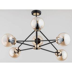 Závěsné designové osvětlení DARCY, 6xE14, 40W, černomosazné A.f.l. DARCY