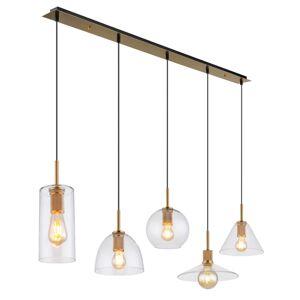 Závěsné moderní osvětlení nad jídelní stůl ADARA, 5xE27, 60W, mosazné Globo ADARA 15460H1