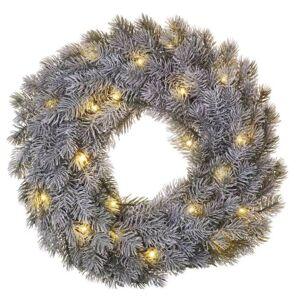 LED dekorativní vánoční věnec, 20xLED, teplá bílá, 2×AA, 40cm, časovač Emos DCTW15