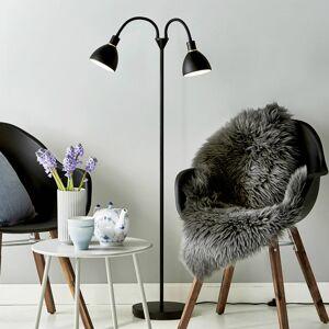 Nordlux Stojací lampa Ray z černého kovu, 2 žárovky