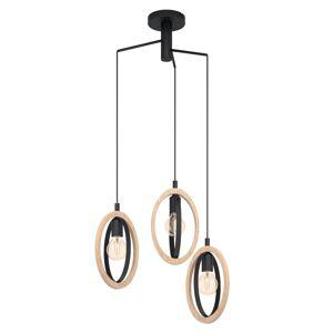 EGLO Závěsné světlo Basildon, dřevěné detaily, 3 zdroje