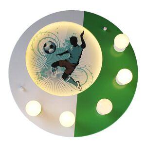 Elobra Stropní světlo Soccer, pět zdrojů, zeleno-bílá