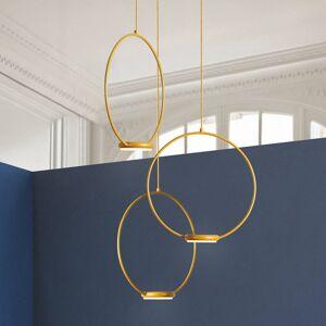 Gibas 3zdrojové, zlaté závěsné světlo LED Odigiotto