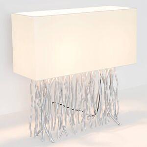 J. Holländer Stolní lampa Capri, hranatá, ecru/stříbrná