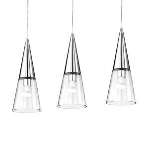 Ideallux Závěsné světlo Cono tři zdroje chrom/transparentní