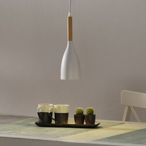 Ideallux Závěsné světlo Manhattan s dřevěným detailem, bílá