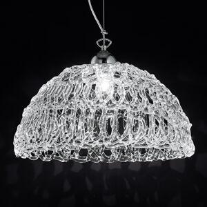 Novaresi Průhledné skleněné závěsné světlo Cobweb, 46 cm