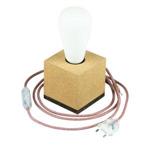 Segula SEGULA kostka stolní lampa z korku, kabel marsala