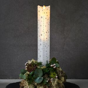 Sirius LED svíčka Sara Calendar, bílá/romantická, 29 cm