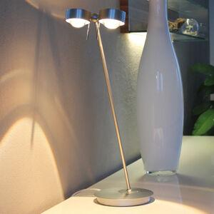Top Light 2zdrojová stolní lampa PUK TABLE, chrom matný