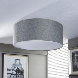 Lindby Stříbrně šedá textilní lampa Pitta ve lnu