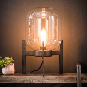 ZIJLSTRA Stolní lampa Vetallo - čiré sklo, antické stříbro