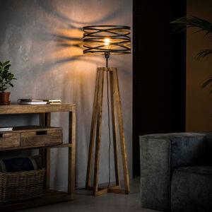 ZIJLSTRA Stojací lampa Crossround ze dřeva a kovu