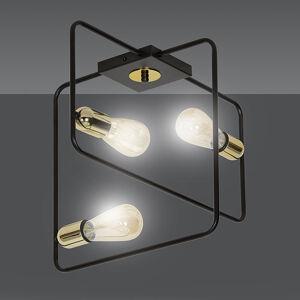 EULUNA Stropní světlo Savo 3 s kovovým rámem, černá-zlatá