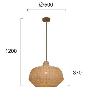 Viokef Závěsné světlo Malibu z ratanu, výška 37cm, béžová