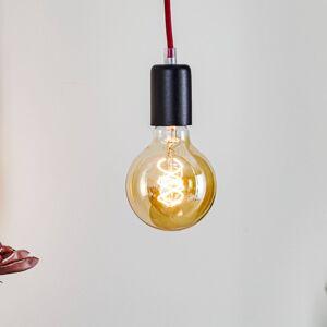 EULUNA Závěsné světlo Simple, černá, kabel červený