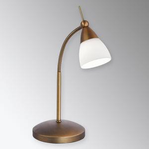Paul Neuhaus Klasická LED stolní lampa Pino, mosaz starobylá