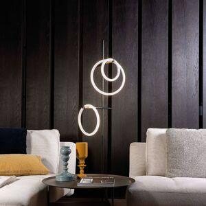 Marchetti LED stojací lampa Ulaop, tři kruhy, černé